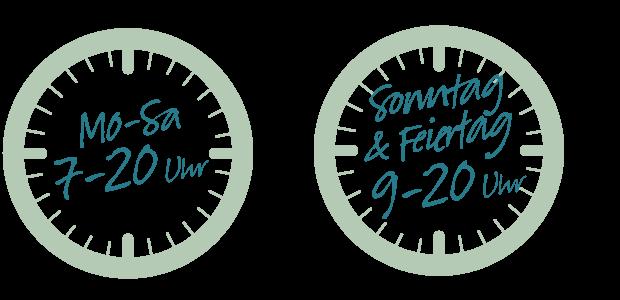 Mo - Sa 07:00 - 20:00 Uhr und Sonn- und Feiertag 09:00 - 20:00 Uhr
